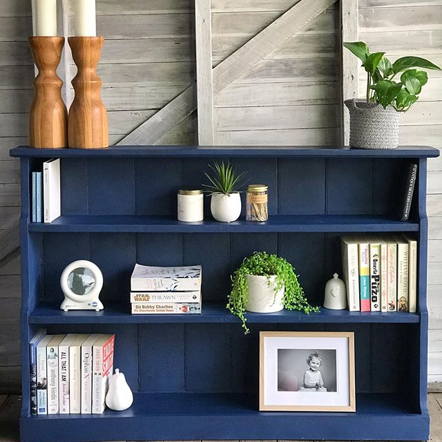 Available for Sale: Long low-rise bookcase in a midnight blue finished with a black wax. Link in bio for sale details. #bookcase #vintagebookcases #midnightblue #blackwax #vintagehomedecor