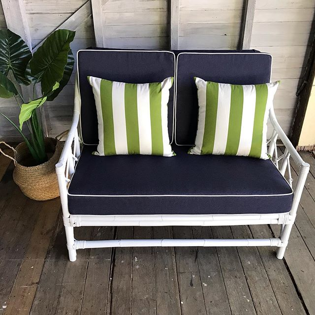 Available for Sale: White Wicker 2 seat sofa with new custom cushions in nautical shades of blue with white piping. 2 x scatter cushions in a gorgeous green and white stripe. Link in bio for sale details. 2 x matching armchairs still being restored if these are also of interest. #whitewicker #sofavintage #outdoorliving #blueandwhite #indooroutdoorliving #patioset #vintagesale #forsale #vintagewicker #vintagehomedecor