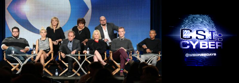 "Onstage with the 'CSI: Cyber"" panel as part of the CBS US press tour, California. (L-R, Front Row) Actors Charley Koontz, Hayley Kiyoko, Peter MacNicol, Patricia Arquette, James Van Der Beek and Shad Moss, (l-r back row) Producer/cyber psychologist Mary Aiken, executive producer Pam Veasey and executive producer Anthony Zuiker"
