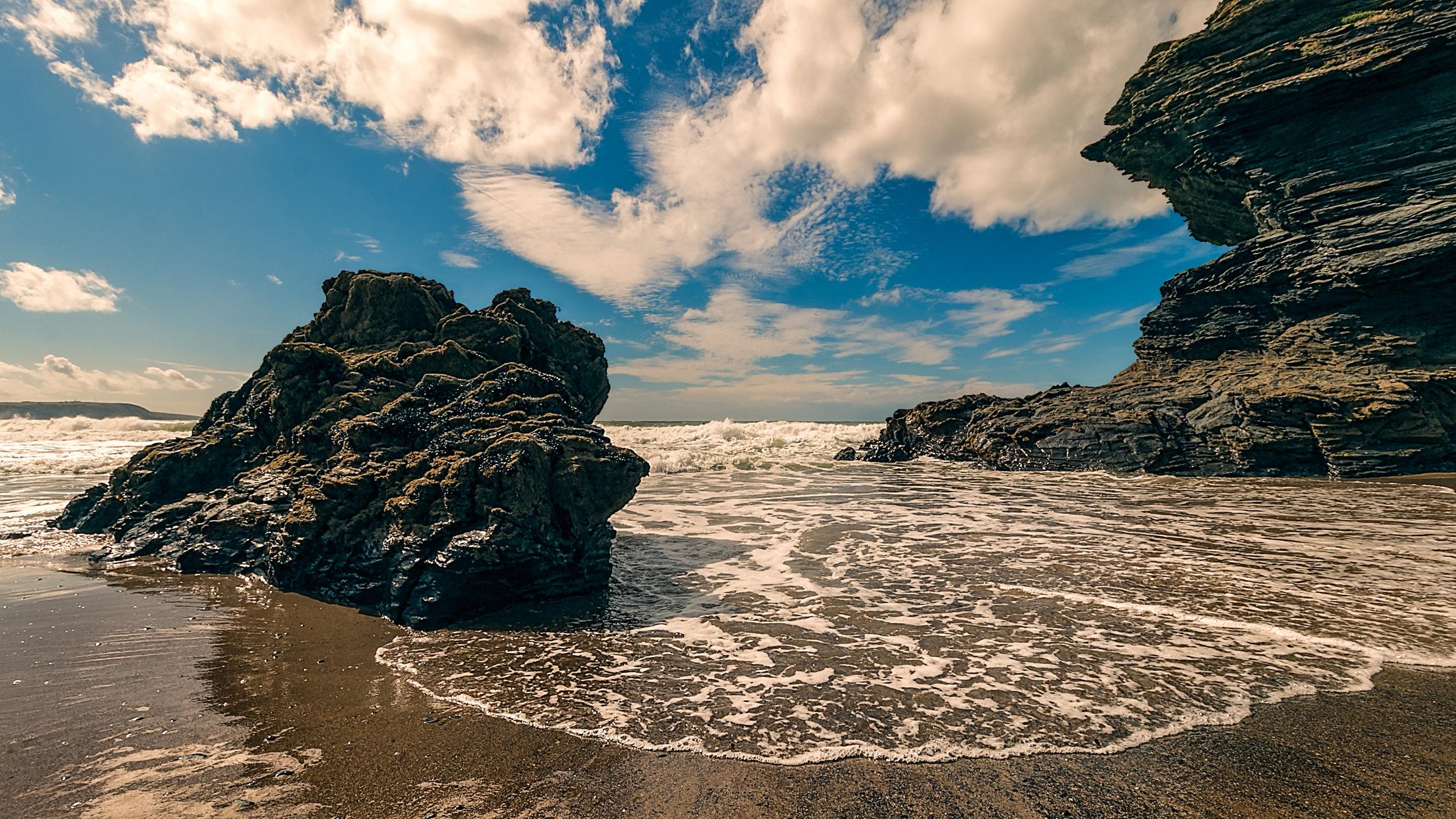 Llangrannog beach shoreline