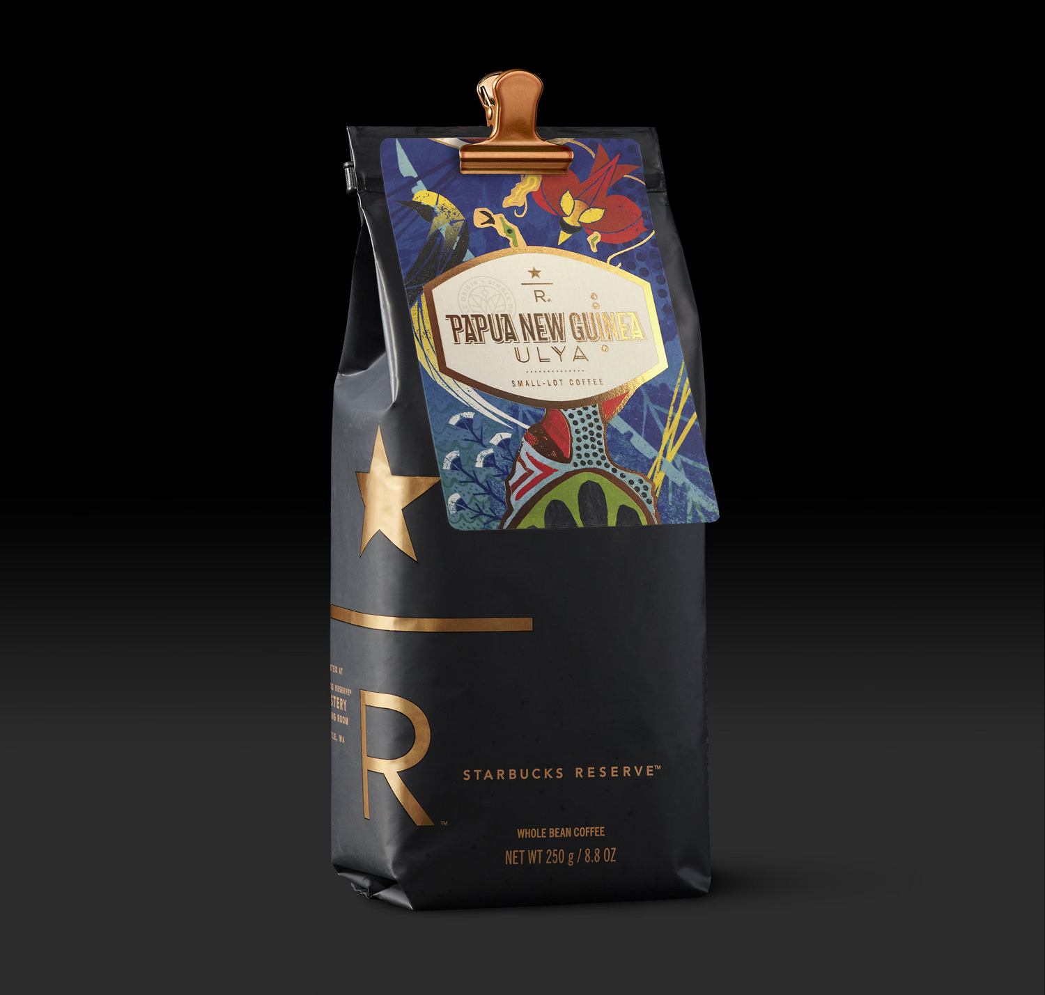 The scoop - The bags for hand scooped coffees offered at the Seattle Roastery were created with the location's black and copper design elements in mind. Each bag came with a coffee card, detailing the coffee within.