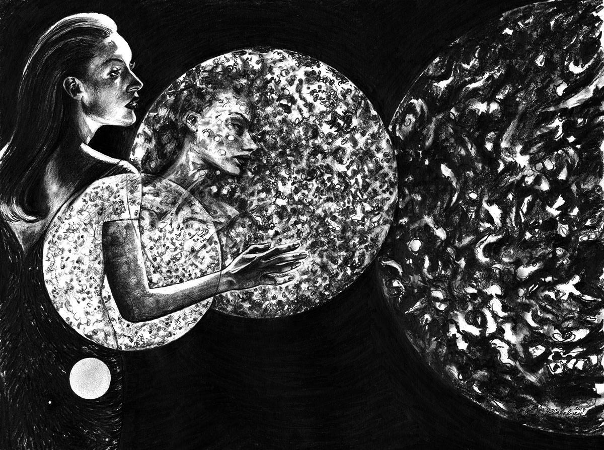 To Reach the Stars - From Right: VV Cephei, Antares, Betelgeuse, Rigel, the Sun   Graphite on Paper 16x20 in. Matted / Framed