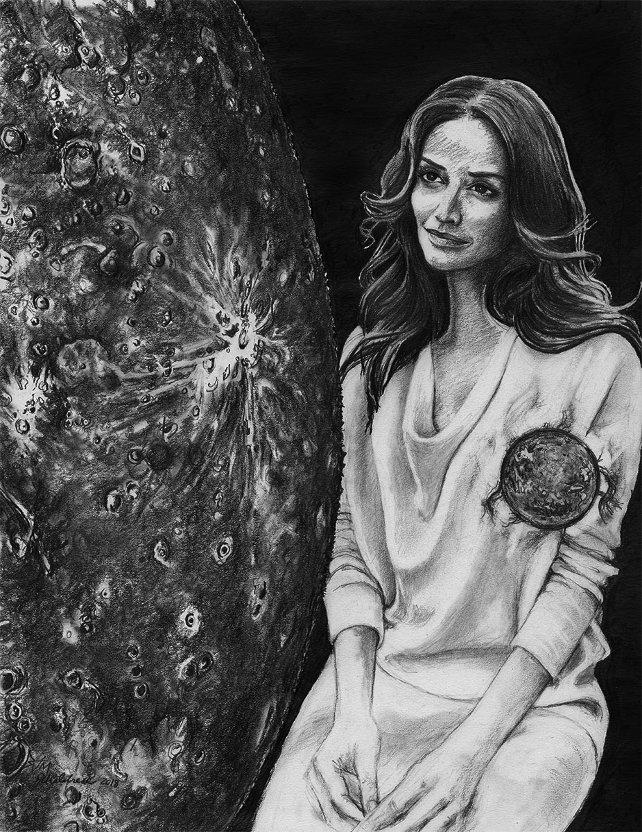 Messenger Planet - Far Side of the Sun   Graphite on Paper 20x16 in. Matted / Framed