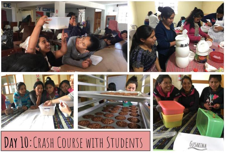 One way we teach people about mealworm farming is through our crash courses. Over the course of 3 sessions we go over the mealworm life-cycle, practice building farms together from upcycled materials and make a yummy protein-packed snack with mealworms. These pictures are from our crash courses last year with aspiring teachers in the western highlands of Guatemala.