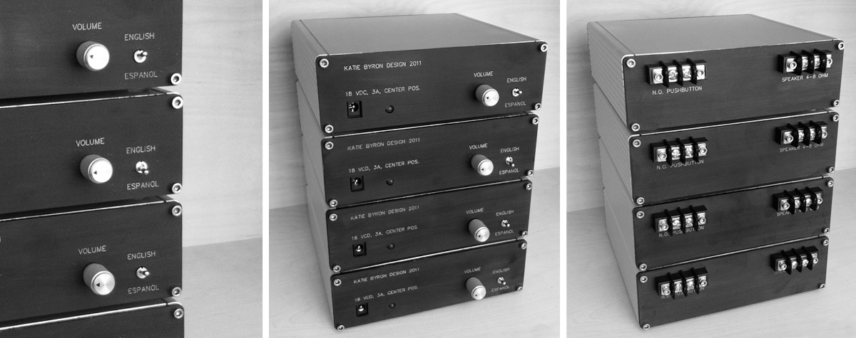 Audio playback modules designed and built for Katie Byron Design