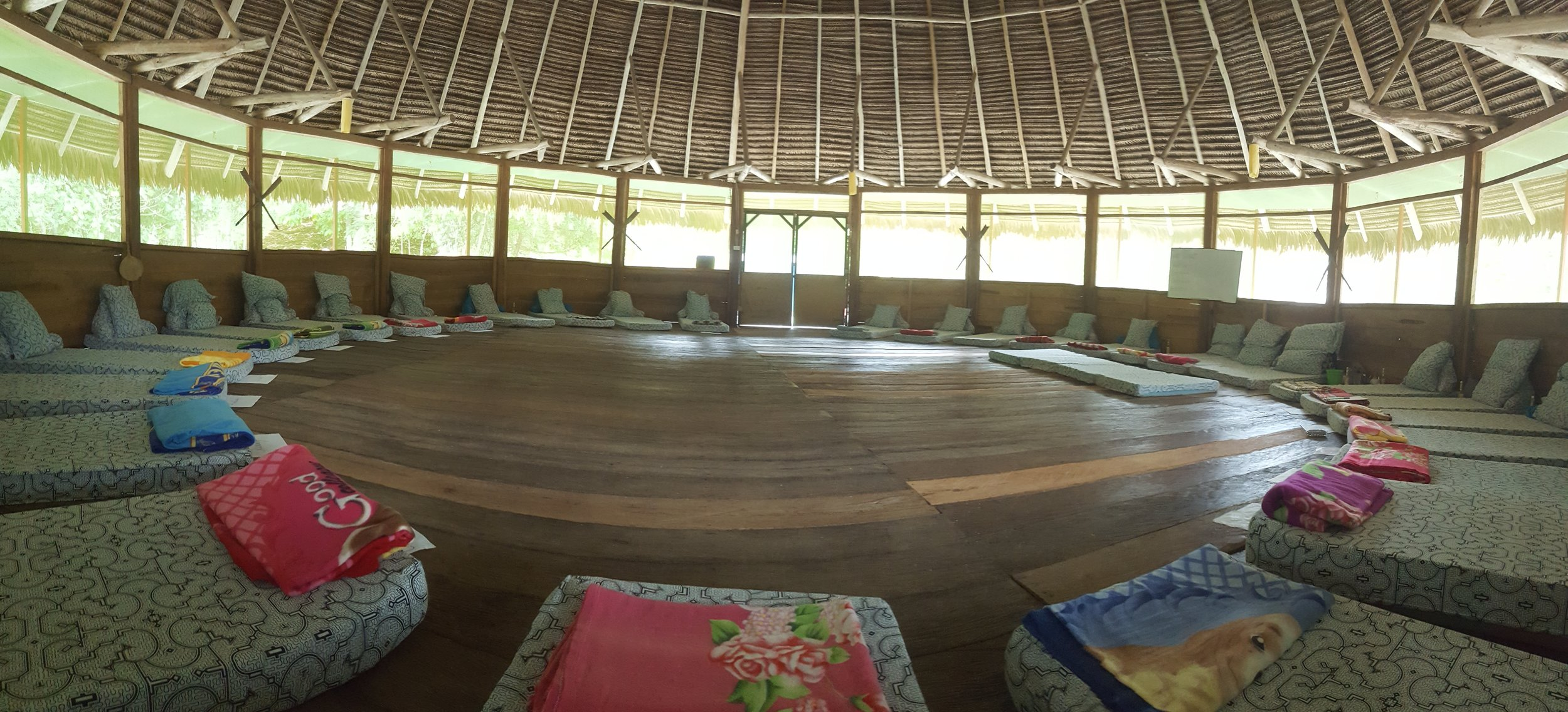 The Maloka where evening Ceremonies are held Monday, Tuesday, Wednesday and Thursday evenings beginning at 8pm led by Master Shaman  Ricardo Amaringo  of  Nihue Rao .
