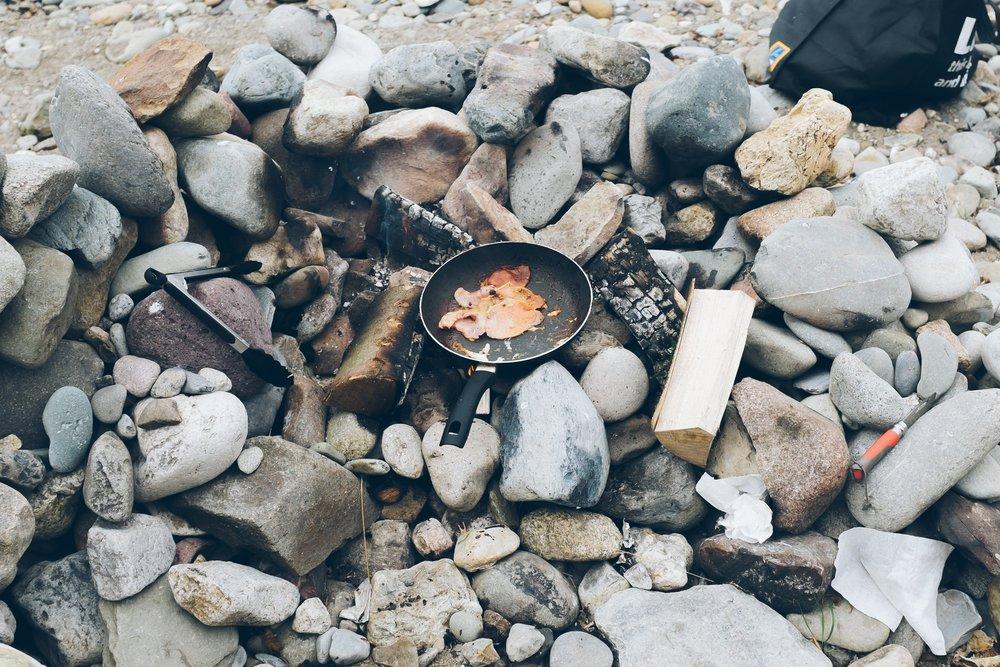 Campfires on the beach at Aberafon campsite.
