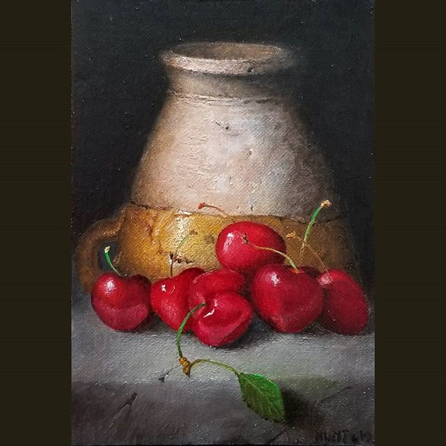 Last one I posted was WIP, I guess. Saw some needed tweaks after posting. 6x4 and finished!  #tweaks #need #art #gallery #contemporarypainting #contemporaryart #stilllife #oilpainting #18thcentury #berry #cup #cherry #fruit #sprinklerfactory #worcester #massachusetts