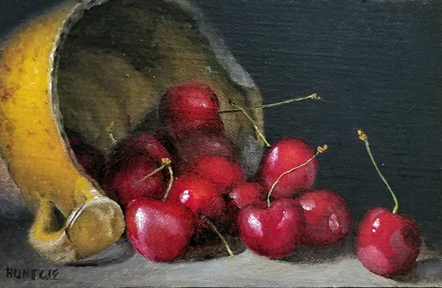 4x6. Another cherries with berry cup. Colors better in person... #cherry #collector #contemporaryart #contemporarypainting #oilpainting #stilllife #stilleven #stilleben #art #gallery  #antique #stoneware #cup #realism #indirect #fromlife #aesthetic #luxury #sensitive