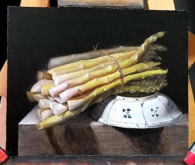 Work in progress. Asparagus with kraak Ming dish. Maybe a day or two left. (Mother grew and ate asparagus but I never acquired the taste for it). #asparagus #kraak #ming # porcelain #dish #chinese import #oilpainting #stilllife #stilleven #stilleben #art #gallery #vegetables #collector #investment #massachusetts #artsworcester #newengland #contemporaryart #contemporarypainting #indirect #luxury #living