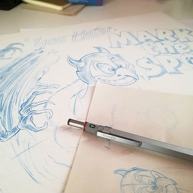Alright, back to the paper again for a very, very special project... We will keep you updated, homies. 🙏 #WIP #inkbadcompany #paper #pencil #drawing #illustration #cartoon #lettering #handmade #oldschool #markthespot