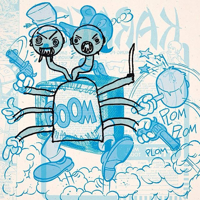 """We made our small part on """"Doodle Duos"""", a cool project that links kids and illustrators from all over the globe. The game is quite simple: a child draws one of his dreams with limited time (black line), and then a professional illustrator just finish the drawing, without knowing what it's all about (blue line). We doodled in tandem with an eight-year-old boy who dreamed of a two-headed diabolical doll with a lot of limbs. 😂👏👏 This piece and a whole bunch more will be shown in a collective exhibition in Villava, north of Spain, from 14 September to 27 October. #inkbadcompany #doodleduos #tandem #exhibition #drawing #cartoon #twoheadedmonster"""