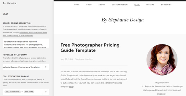 Squarespace SEO for Photographers - By Stephanie Design