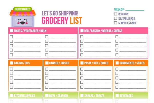 super cute printable grocery list template - by stephanie design