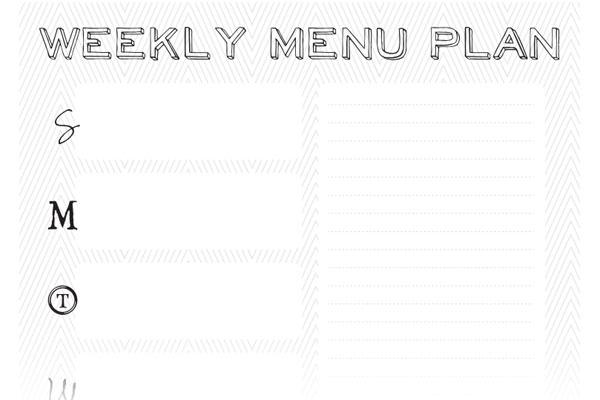 free weekly menu plan template - by stephanie design