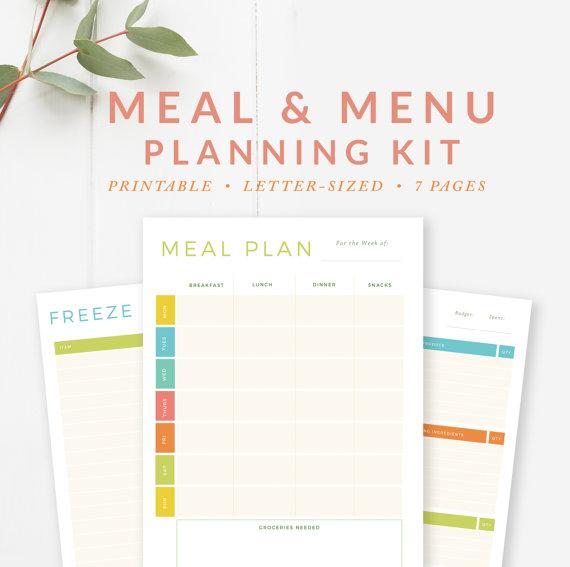 meal menu planning kit - by stephanie design