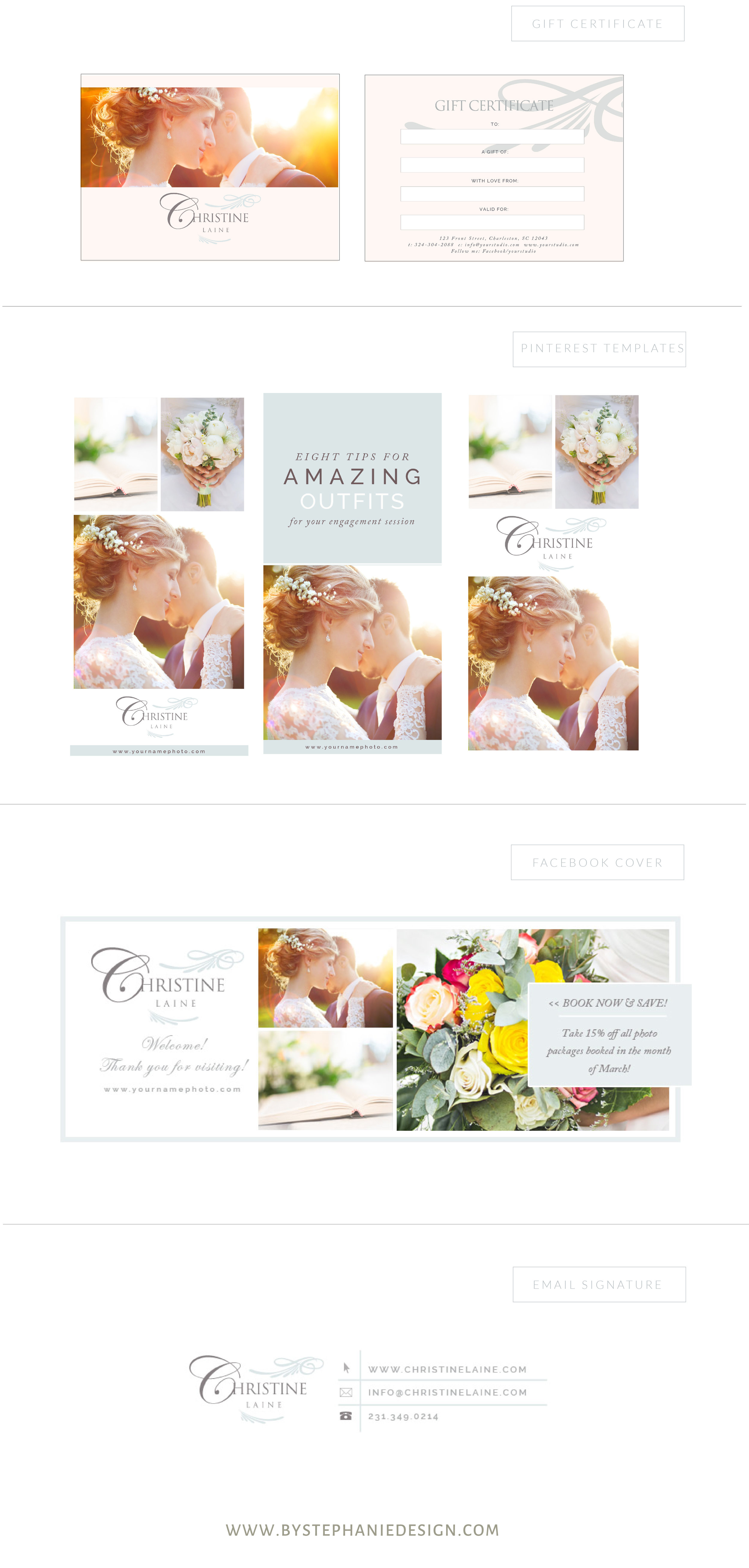 custom brand design for wedding photographers - by stephanie design