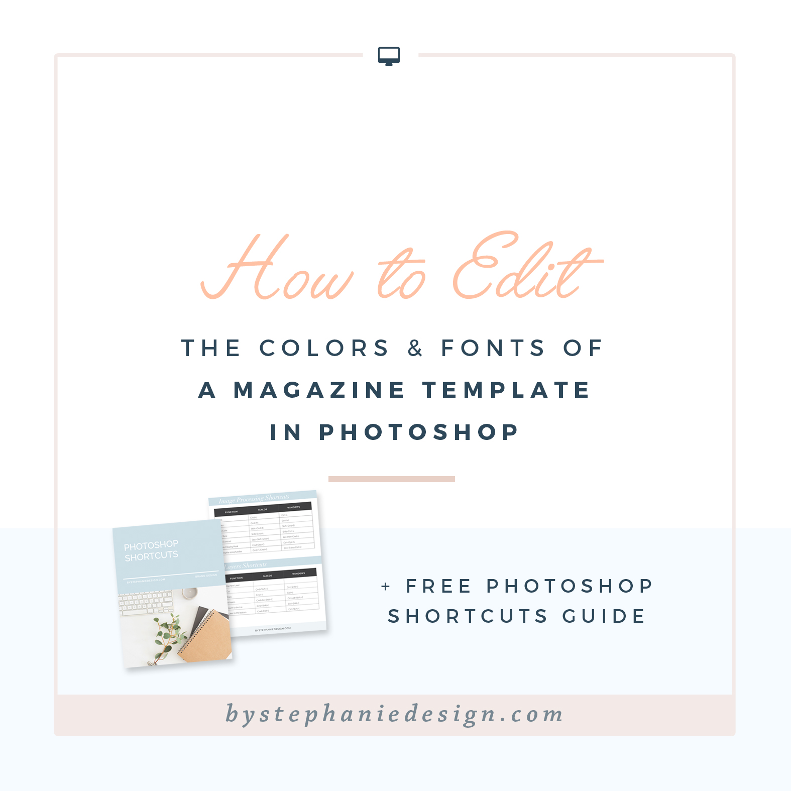 how to edit the colors and fonts of a magazine template in photoshop - by stephanie design