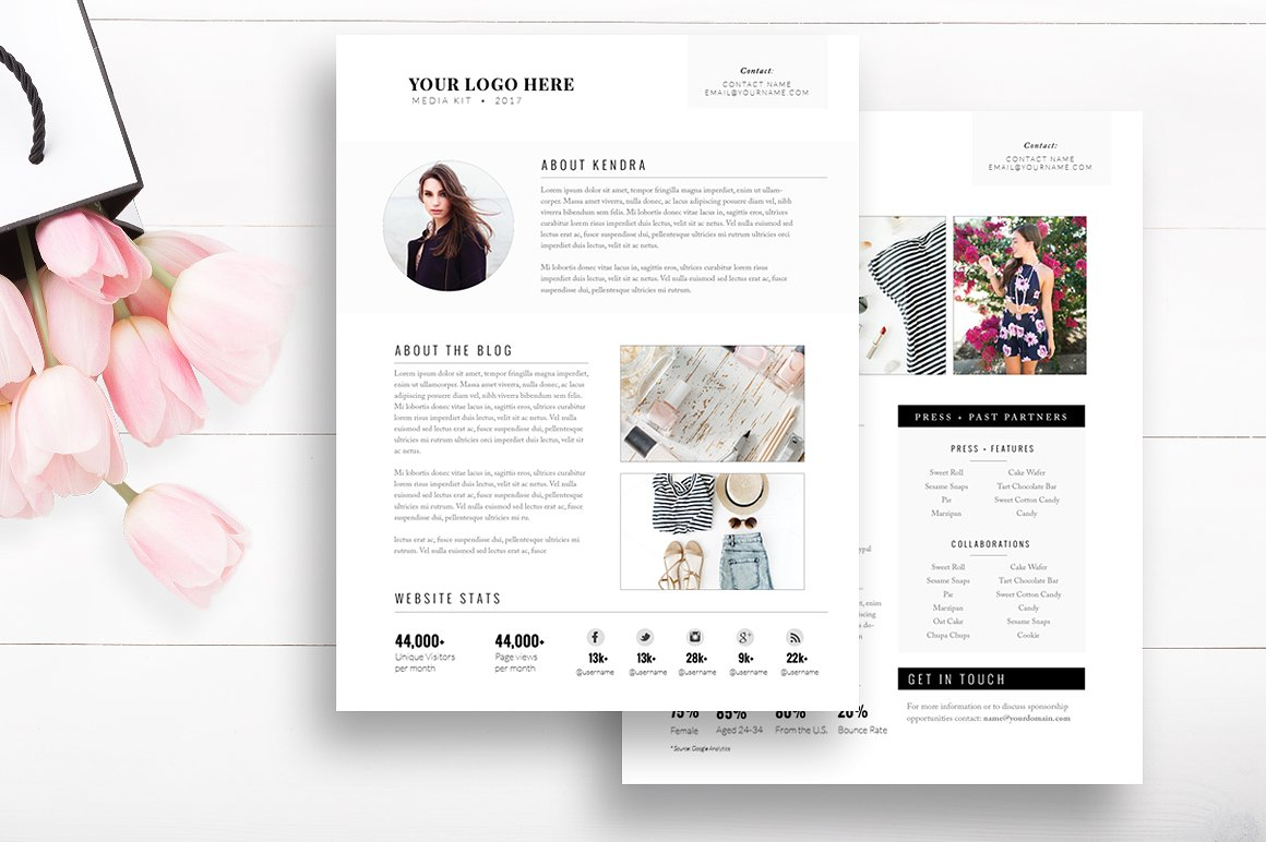 modern media kit templates for photoshop and indesign | by stephanie design