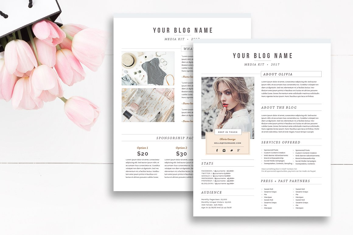 elegant blog media kit templates | by stephanie design