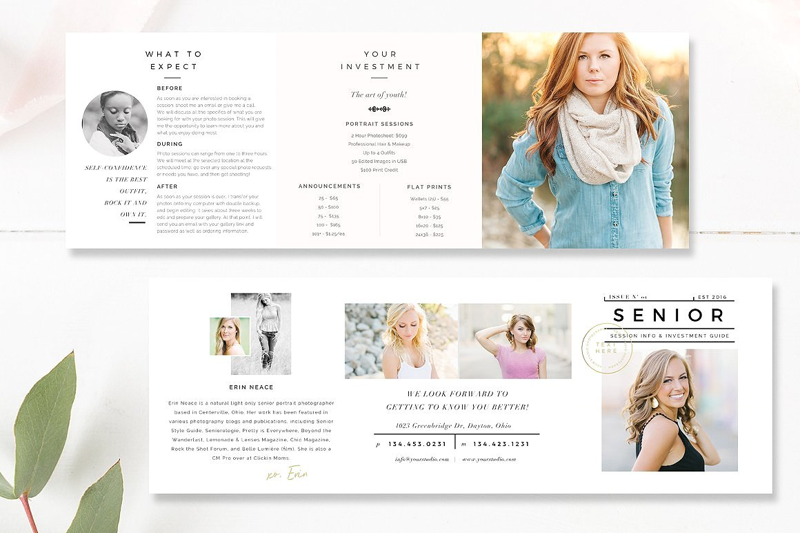 photographer accordion trifold brochure template - by stephanie design
