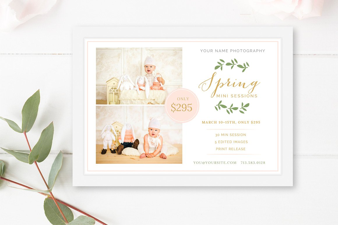 spring mini session marketing board template
