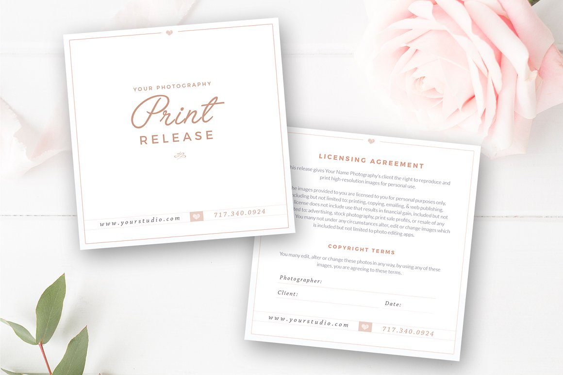 photographer print release template