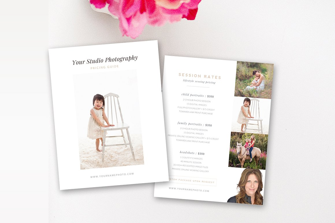 lifestyle photography pricing guide template