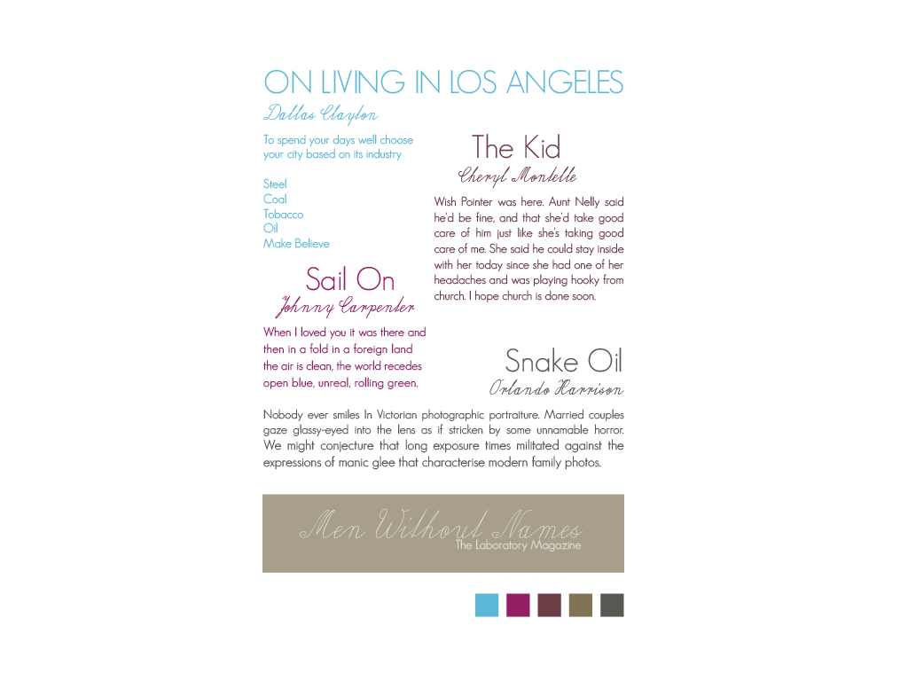 Colour and type samples
