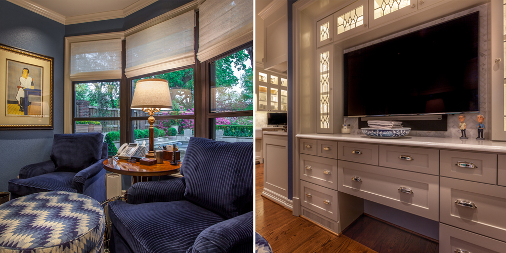 This area previously served as a breakfast room but was turned into a morning room where the homeowners can comfortably enjoy their breakfast and coffee while watching the news.