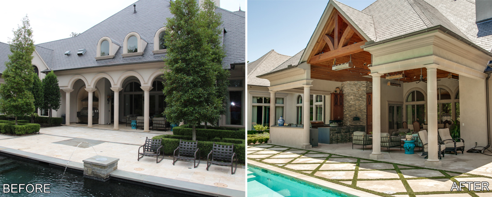 This home already had a small covered patio with space for a built in grill and some seating. The homeowners decided to expand the covered porch and extend it towards the pool so that it would be large enough for a full size outdoor kitchen, a large dining area, and a separate entertainment area.
