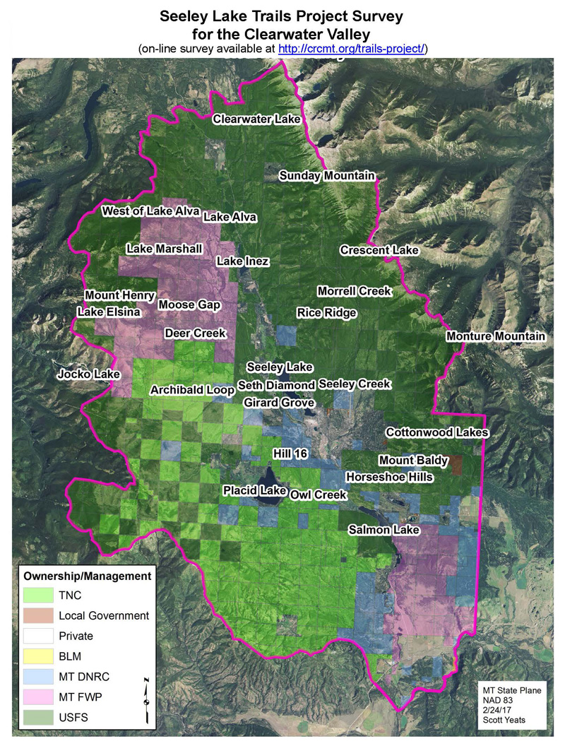 Seeley Lake  Trails Project Area Map  (1.25 MB, dimensions 8.5x11)