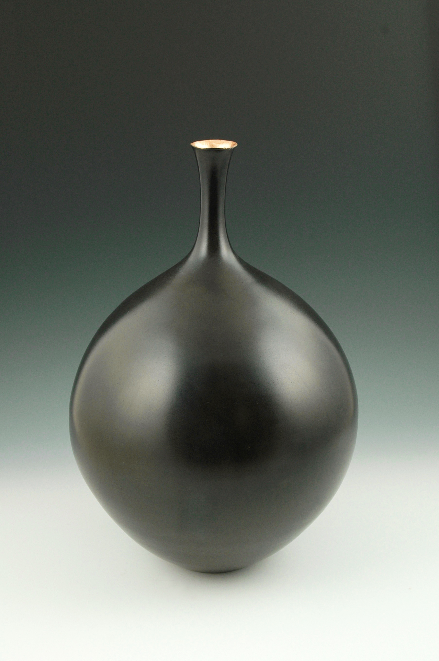 Burnished Smoke-fired Vessel with Gold Leaf by Judy Blake