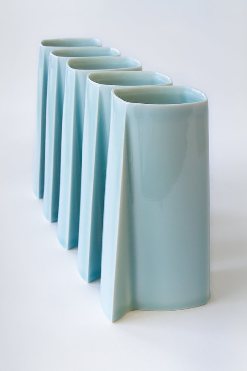 Celadon tall vase by ChengOu Yu