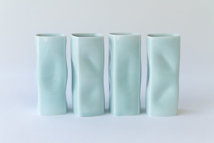 Celadon Tall Vases by ChengOu Yu
