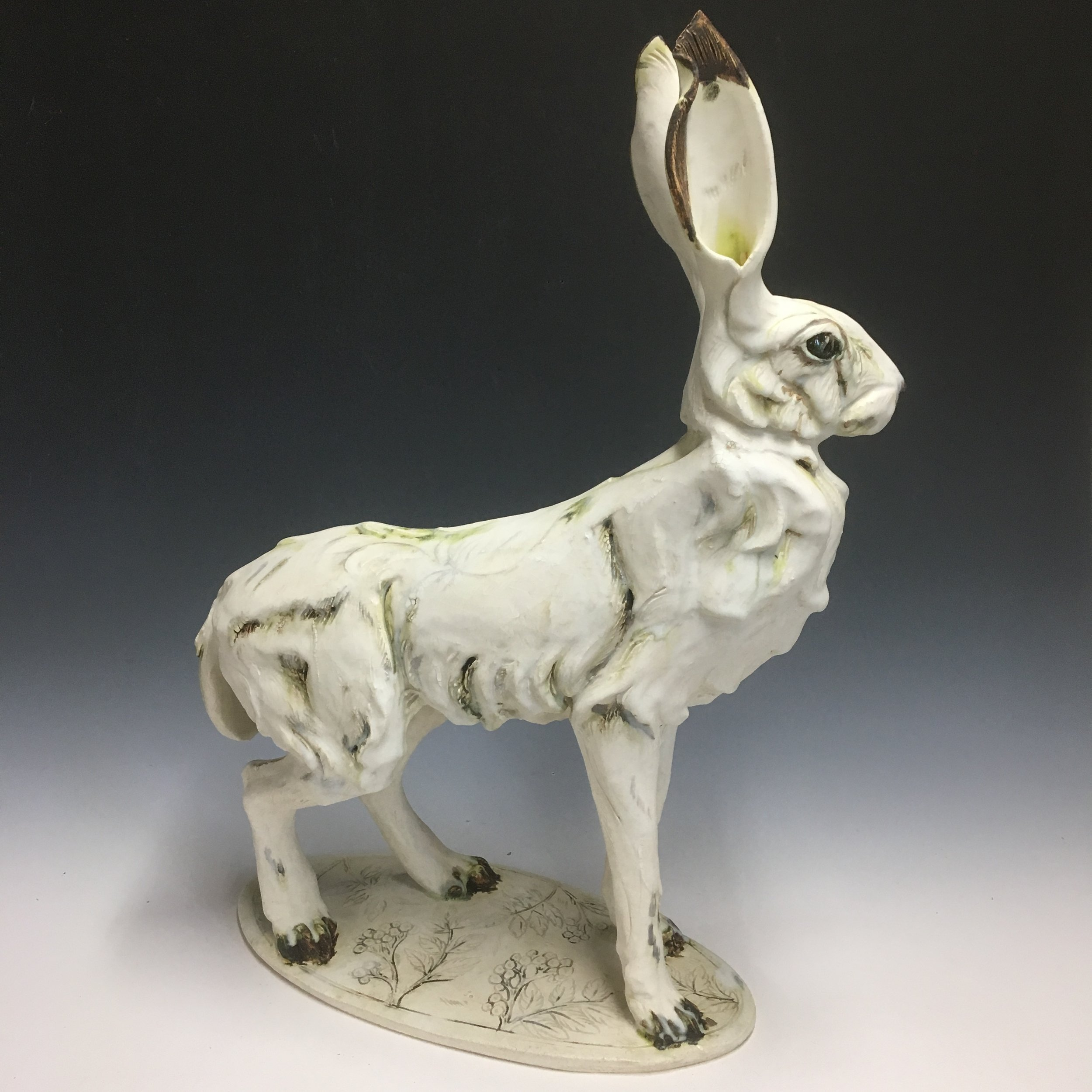 White Standing Hare on stand by Mary Philpott