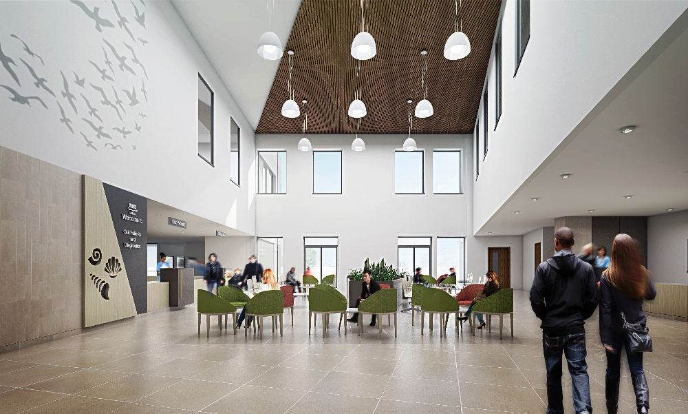 East Lothian Community Hospital, OPD Waiting Area -   Visualisation by Keppie Design