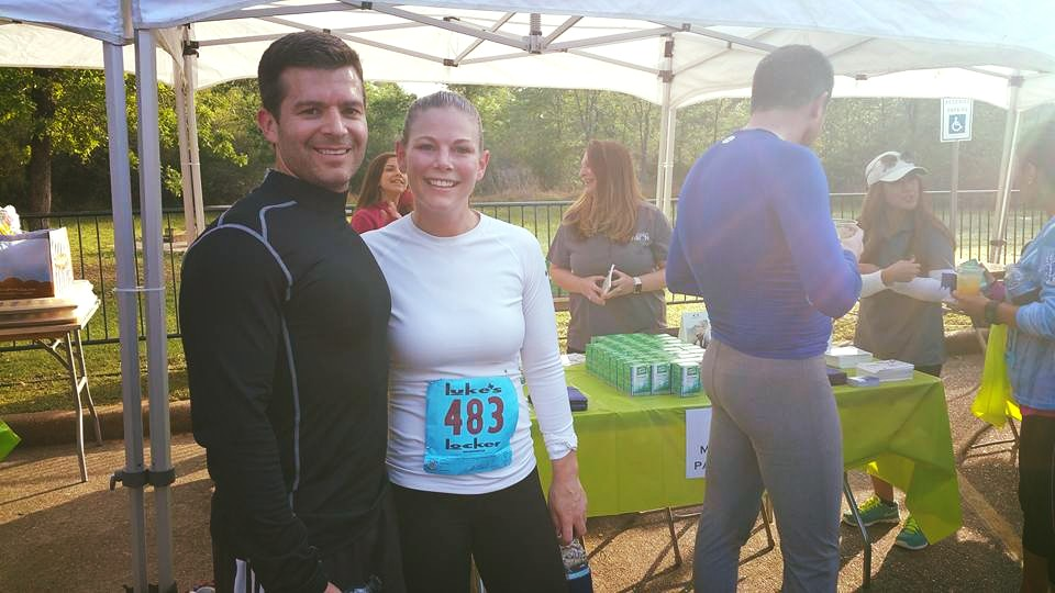 Dr. Dana Howard, OD and Dr. Jesse Howard, PhD, running in For the Park Run benefiting our Memorial Park.