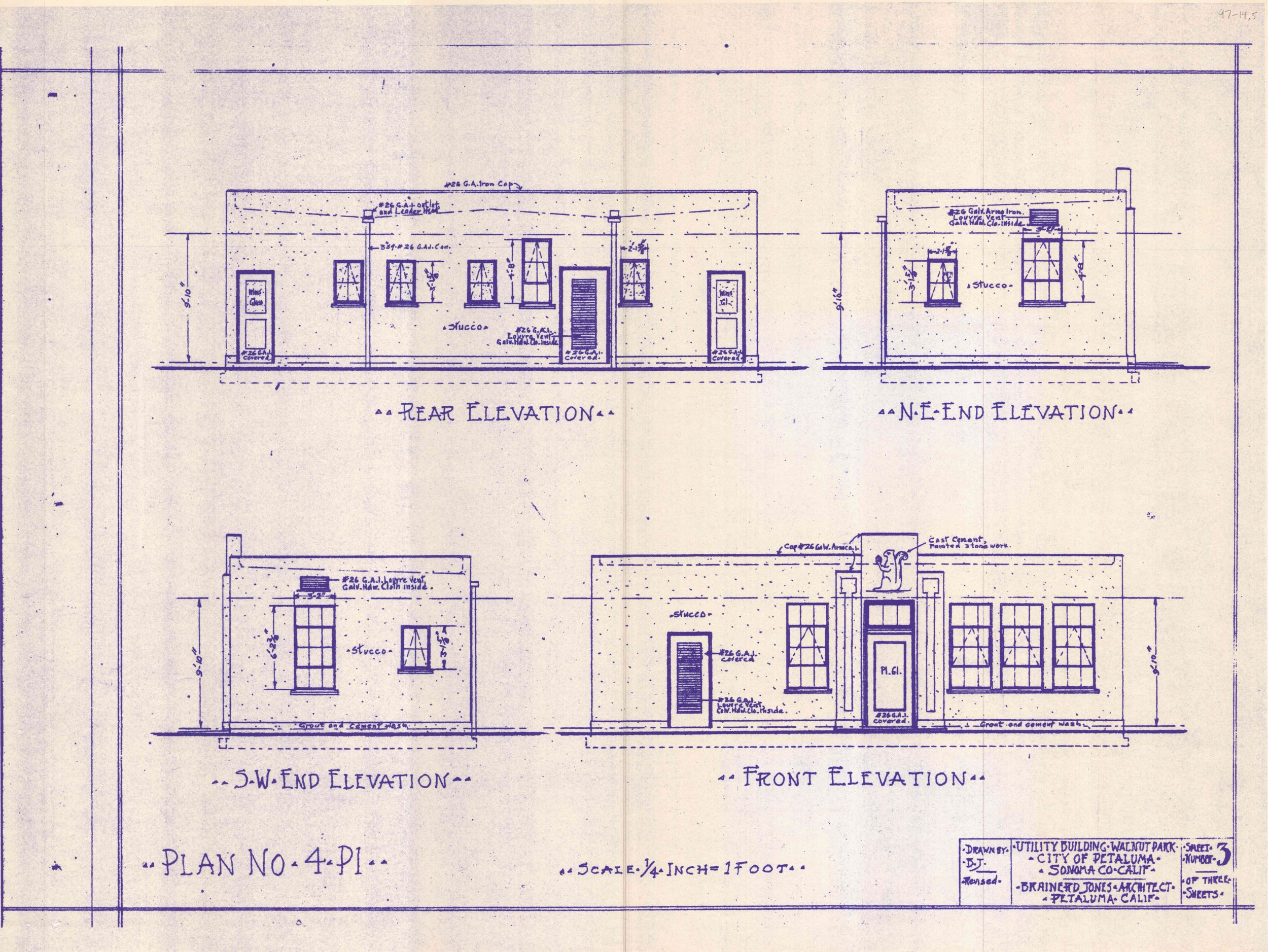 - Brainerd Jones plan elevations. Courtesy of the Sonoma County Library.
