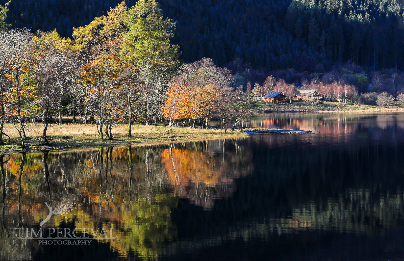 Autumn tree reflections over Loch Lubnaig and the Strathyre Cabins