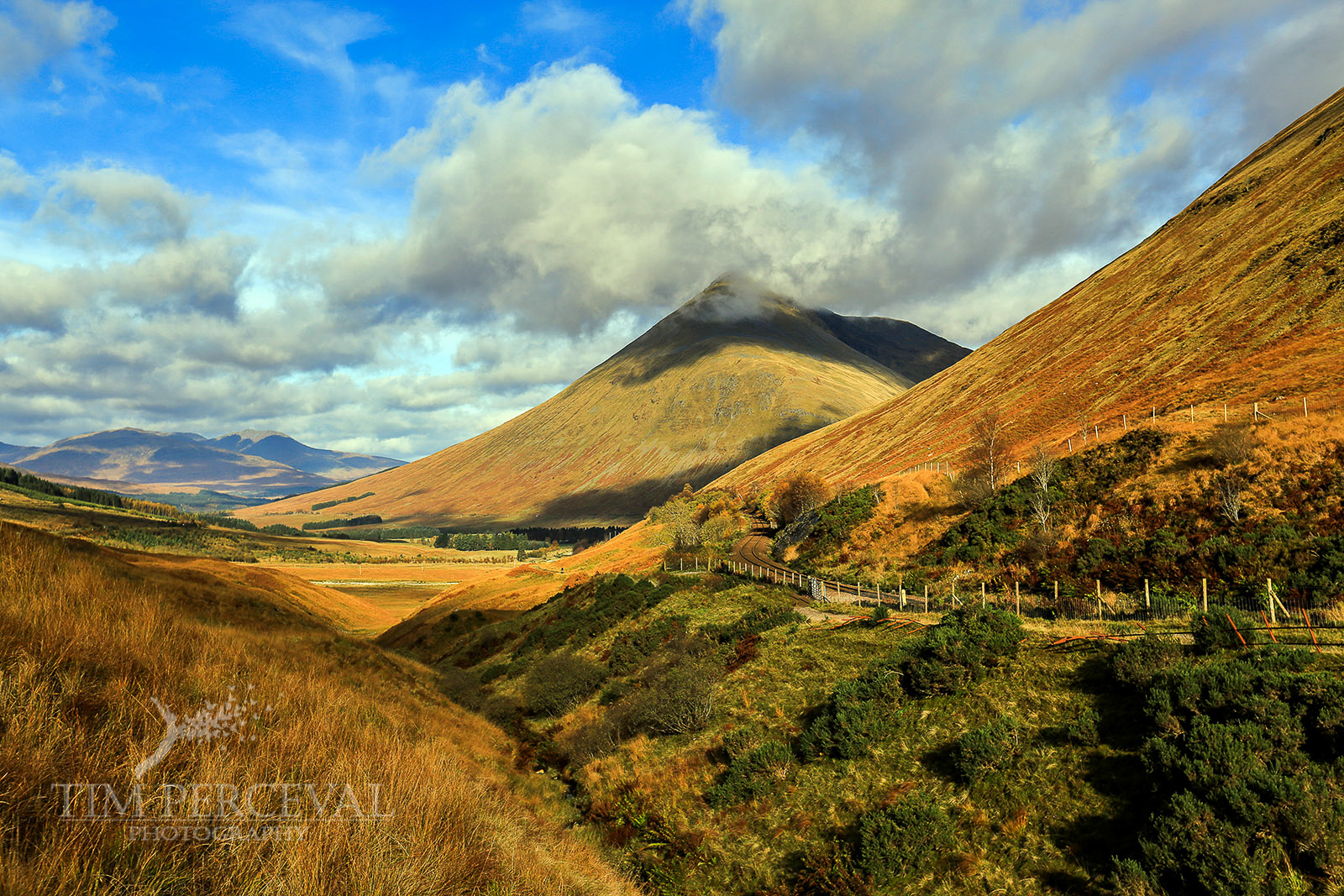 Highland valley at the foot of Beinn a Chaisteil and Beinn Dorain.