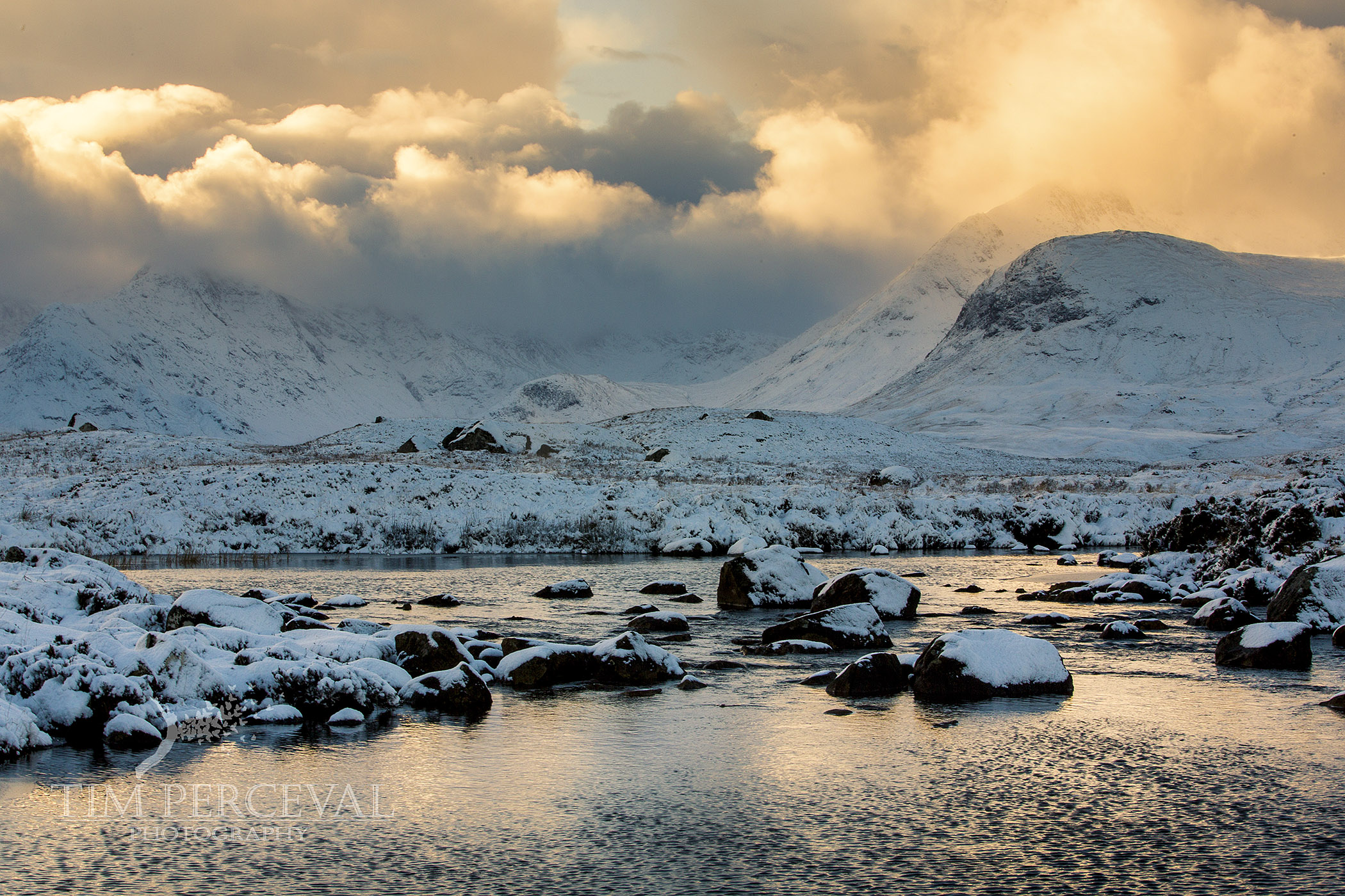 Snow covered Loch na h-achlaise, Rannoch Moor