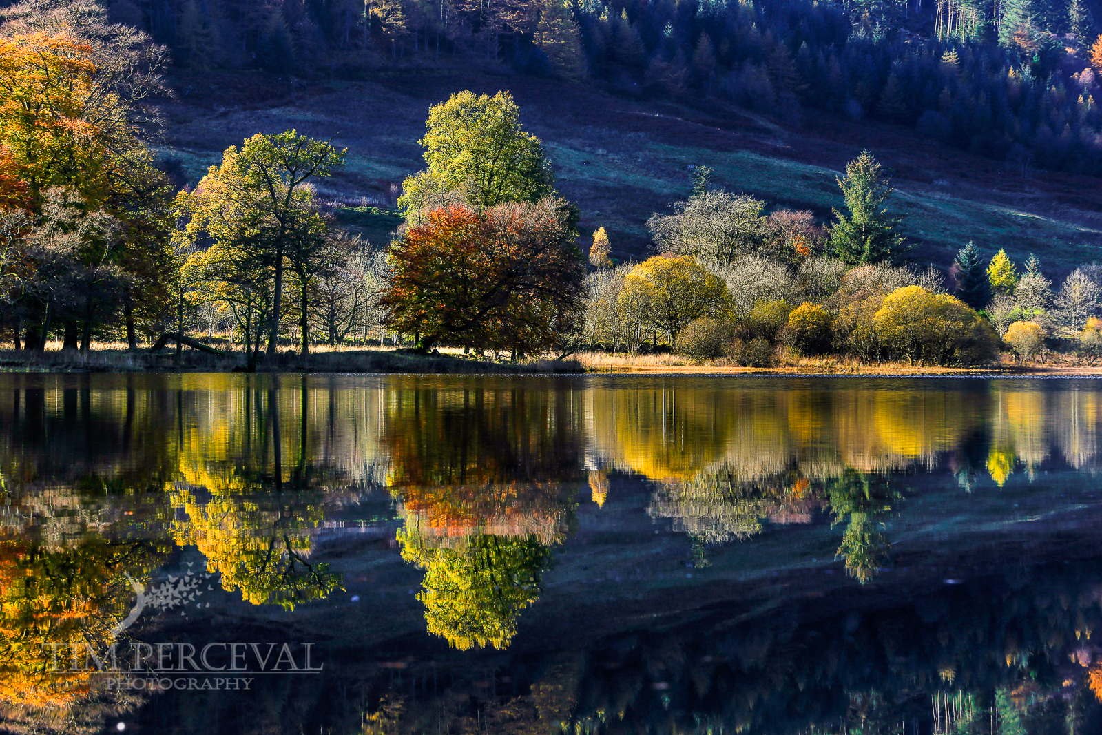 Loch Lubnaig Autumn Reflections at sunset