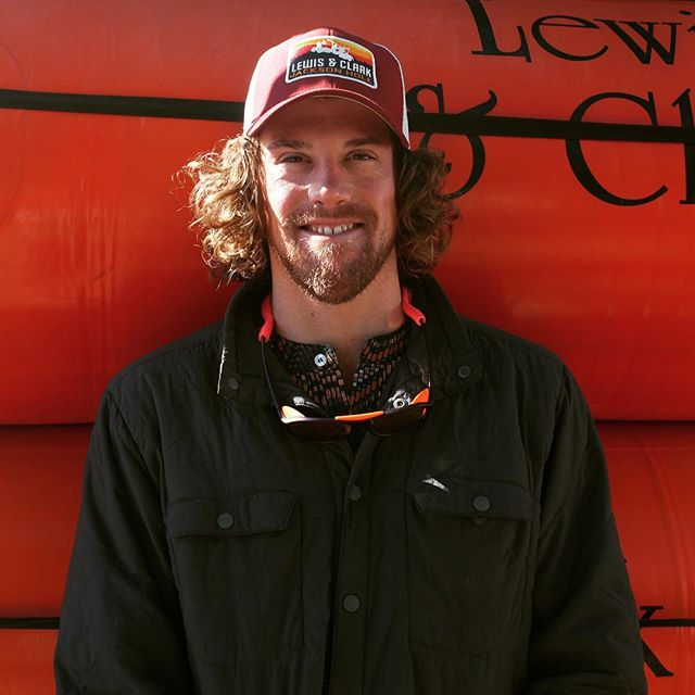 "Meet Riley ⭐️ Riley has been guiding whitewater for six years and this is his first summer with us at Lewis & Clark. He skis, trail runs, mountain bikes, roller blades, and hunts jackalopes on his days off and his favorite quote is ""ski the days that end in y"". Riley is from Billings, MT and studied sustainable agriculture at the University of Montana. Come rafting with Riley!"