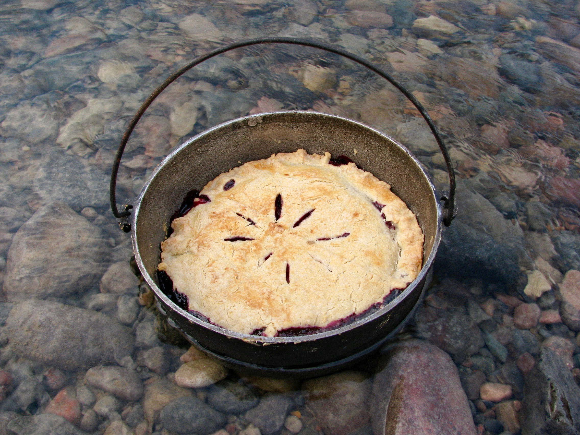 Home made pie with fresh blueberries anyone? Nahanni Wild takes dutch oven cooking further than you thought possible!