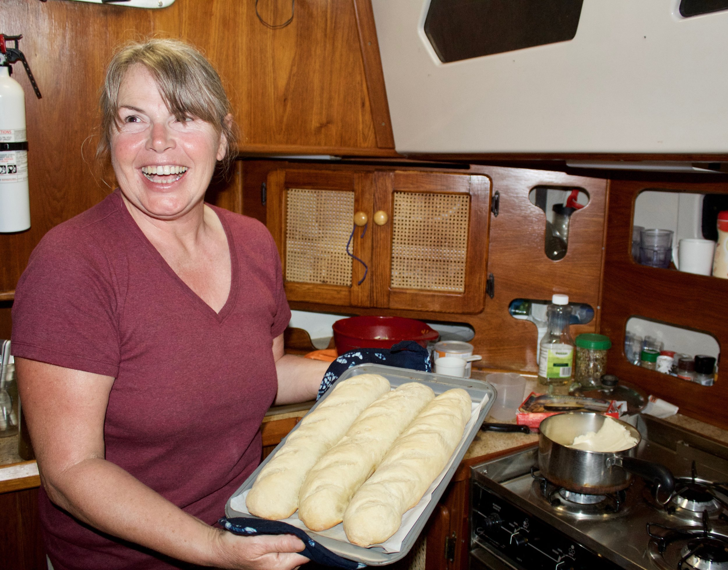 You cannot beat fresh bread! Wendy experiments with some loaves of crusty french bread. Her expertise in the kitchen is a big part of why our expeditions meals are so delicious.