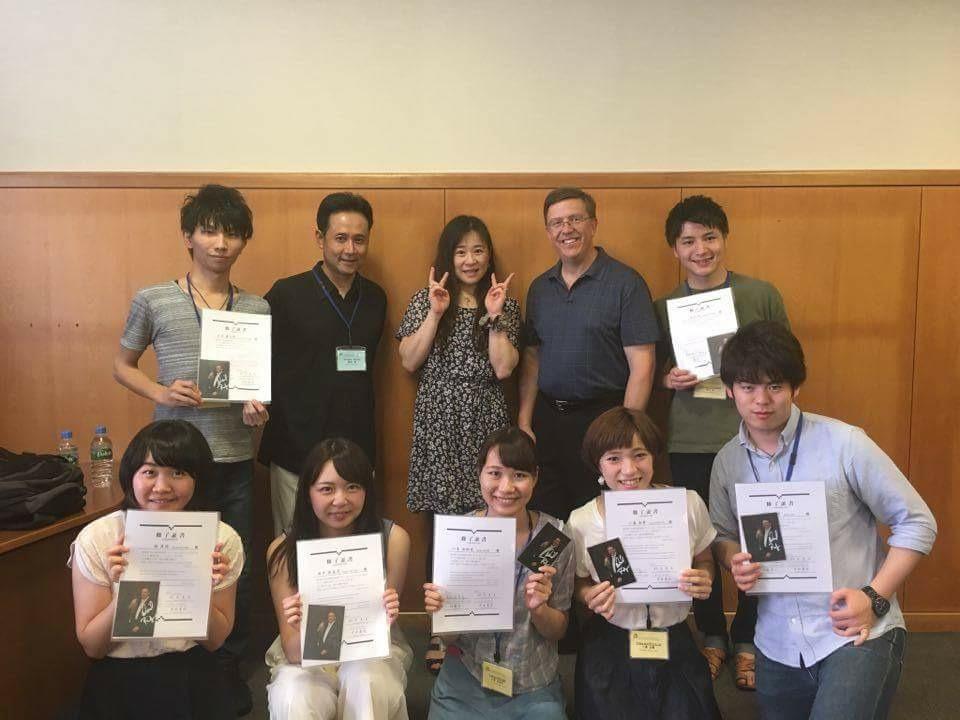My trumpet class at the Hamamatsu Academy, along with my pianist, Hiroko Hayashi and interpreter Susumu Araki