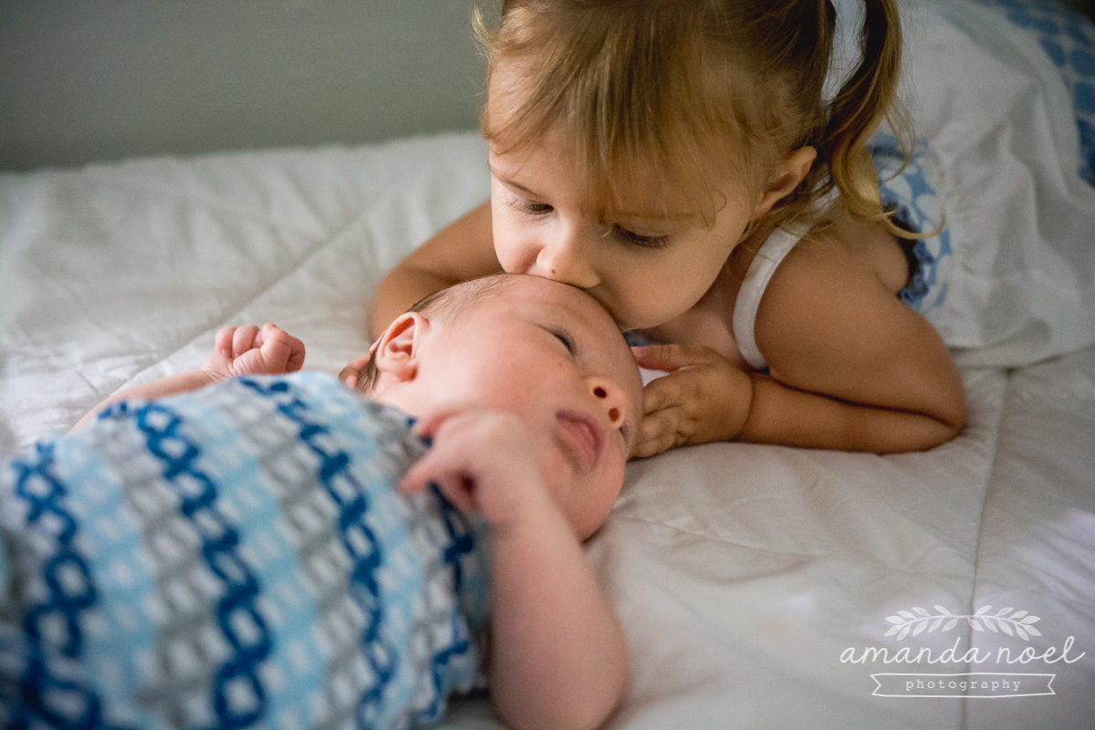 Springfield Lifestyle Newborn Photographer | Amanda Noel Photography | in home newborn session with toddler sibling