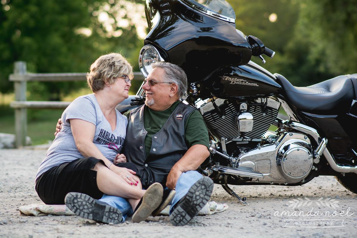 Springfield Lifestyle Couple Photographer | Amanda Noel Photography | sunset older couple session with motorcycle