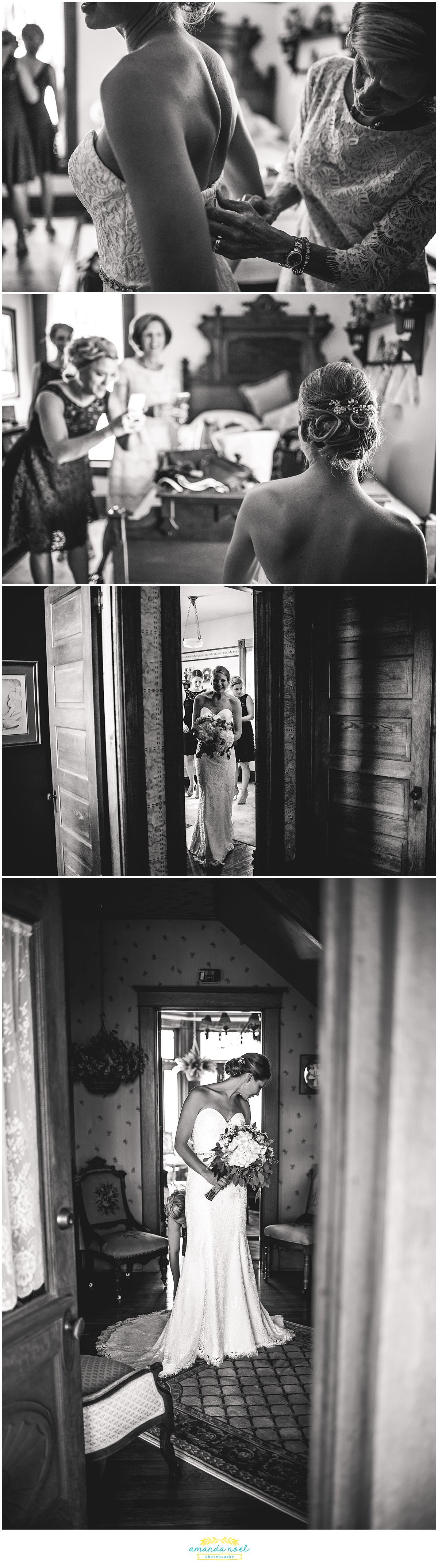 ohio bride getting ready black and white